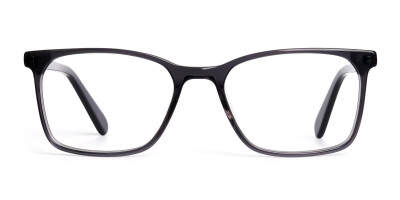 dark grey full rim rectangular glasses