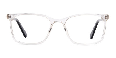 transparent and black rectangular glasses frames