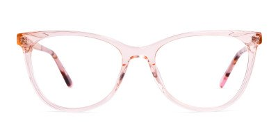 transparent pink brown cat eye glasses frames