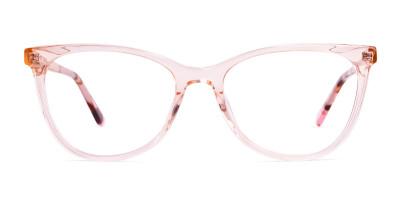 transparent pink brown cat eye glasses frames