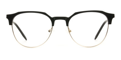 Mixed Material Round Black & Gold Clubmaster Glasses Men's Women's