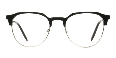 Clubmaster Eyeglasses in Black and Silver Round Frame