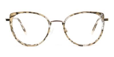 Amber Tortoise Cat Eye Glasses in Round