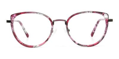 Red Tortoise Cat Eye Glasses in Round
