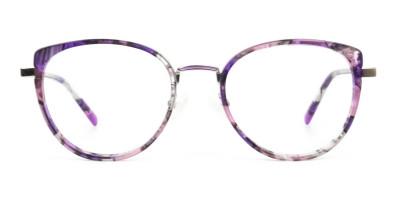 Purple Tortoise Cat Eye Round Glasses