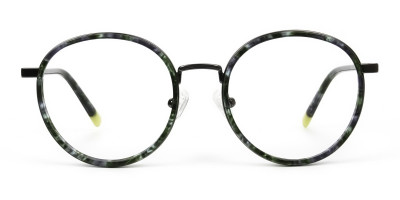 Hunter Green Tortoise Gumetal Glasses in Round