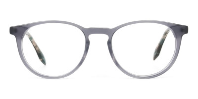 Keyhole Grey Frame Eyeglasses with Brown, Blue Tortoise Temple
