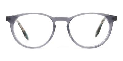 Keyhole Grey Frame Eyeglasses with Brown, Blue Tortoise Temple