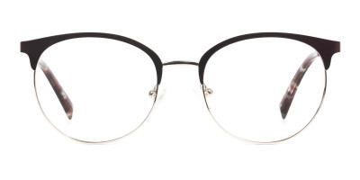 Gold Burgundy Red Clubmaster Glasses Men Women