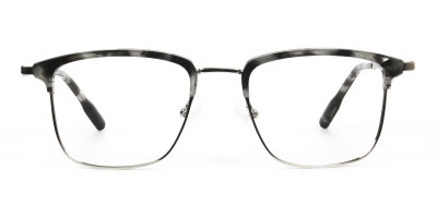Grey Tortoise and Silver Glasses in Browline & Square