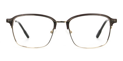 Rectangular & Browline Gold and Brown Frame Glasses
