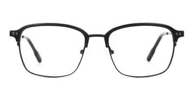 Retro Black Clubmaster Glasses in Rectangular