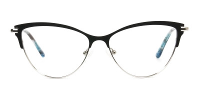 Silver & Black Cat Eye Browline Glasses