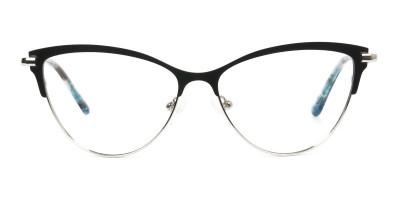 Silver & Black Cat Eye Browline Glasses