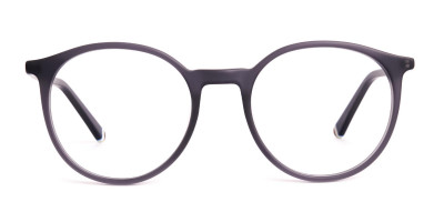 matte and dark grey round full rim glasses frames