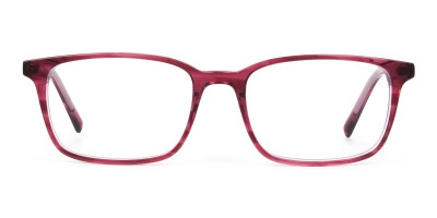 Cherry Red Eyeglasses in Horn Rimmed Rectangle