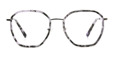 Octagon Glasses in Grey Lilac Tortoise with Silver Temple