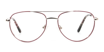 Gold Red Aviator Glasses in Metal