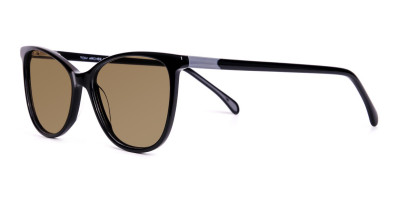 black cat eye full rim dark brown tinted sunglasses frame