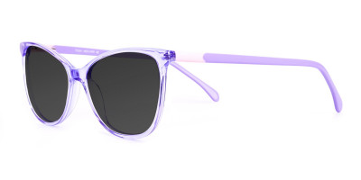 crystal pastel purple cat eye dark grey tinted sunglasses frames