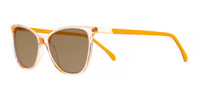 crystal clear orange cat eye dark grey tinted sunglasses frames