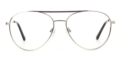 Silver and Brown Flat Bridge Aviator Glasses