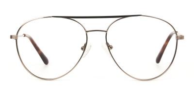 Black Bronze Flat Bridge Aviator Glasses in Metal
