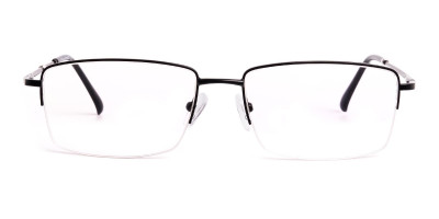 black rectangular metal half rim glasses frames