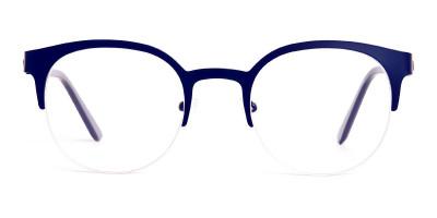 dark blue half rim round glasses frames