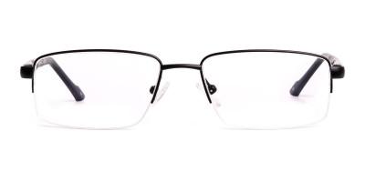 simple black half rim rectangular glasses frames