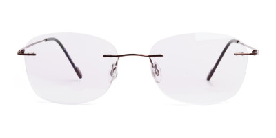 brown wayfarer rimless glasses frames