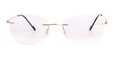 gold rimless titanium glasses frames