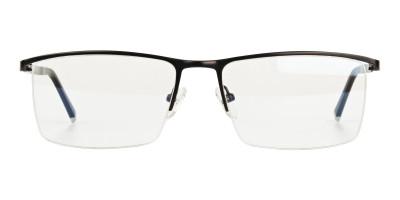 Black Semi Rimless Glasses in Rectangular