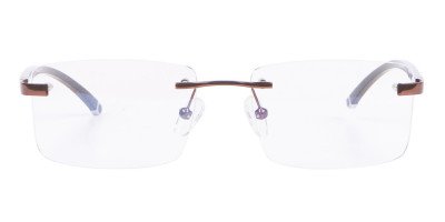 Brown Rectangular Rimless Glasses with Pattern