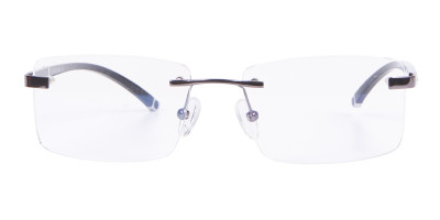 Gunmetal Rimless Glasses For Formal Style