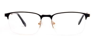 black and gold rectangular half rim glasses frames