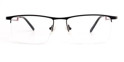 black and red half rim rectangular glasses frames
