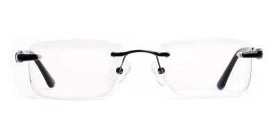 black rectangular rimless titan glasses frames