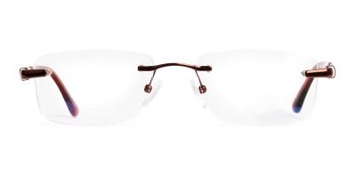 brown rectangular rimless metal glasses frames