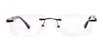 gunmetal rectangular rimless glasses frames