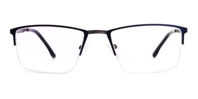 navy blue half rim rectangular glasses frames
