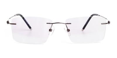 gunmetal rectangular rimless titanium glasses frames