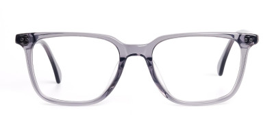 transparent grey rectangular wayfarer full rim glasses frames