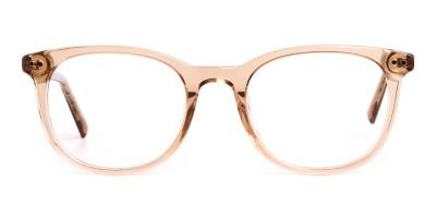 crystal clear or transparent brown round wayfarer glasses frames
