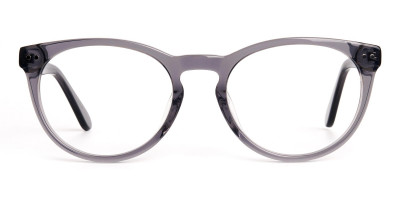 transparent grey round full rim glasses frames