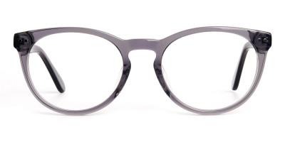 transparent grey round full rim glasses frames