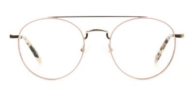Lightweight Gold, Pink Round Aviator Glasses in Metal