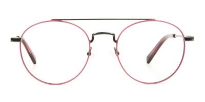 Lightweight Gunmetal & Red Round Aviator Glasses in Metal