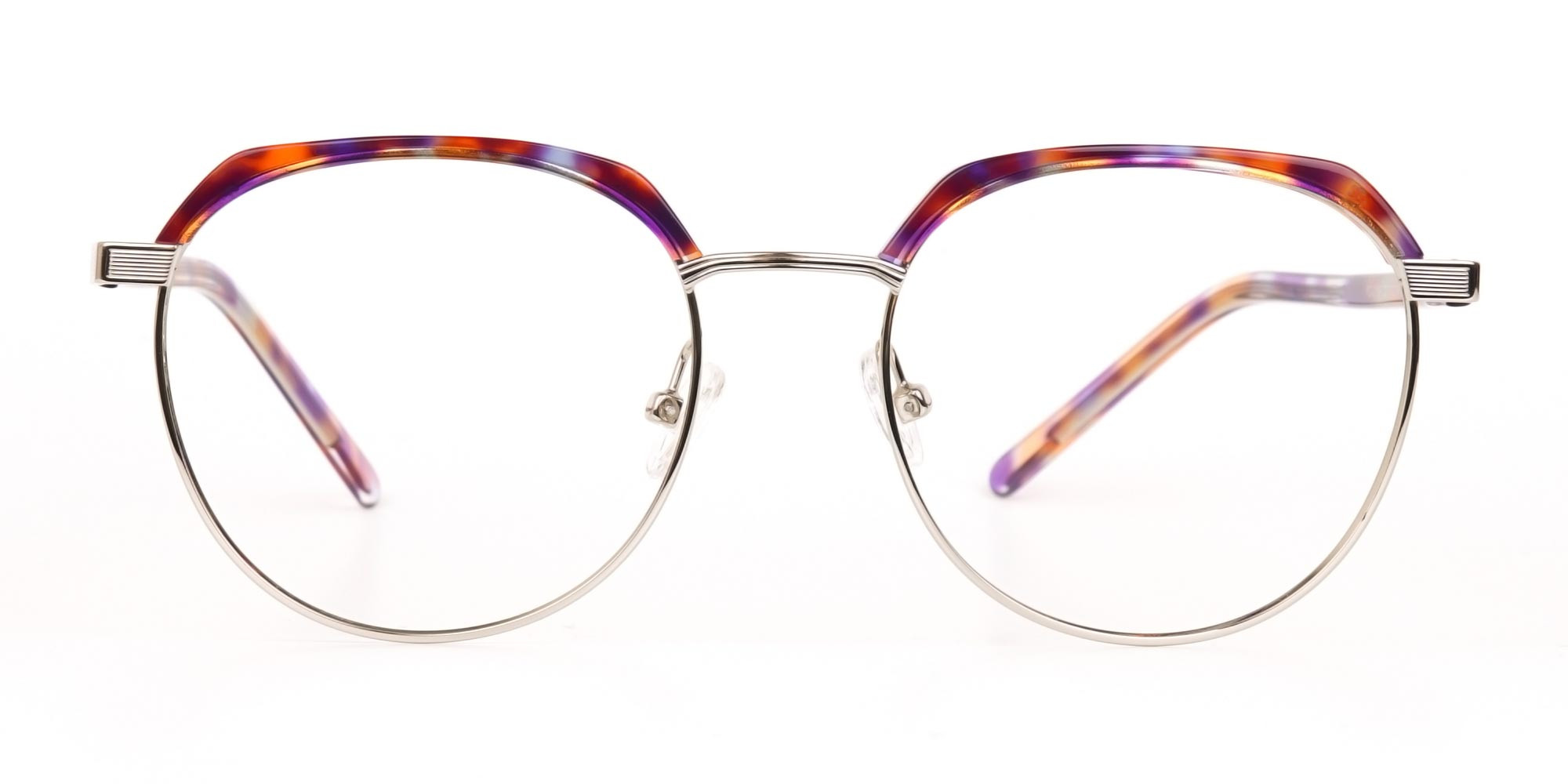 Passion Orange, Purple & Silver Browline Glasses-1