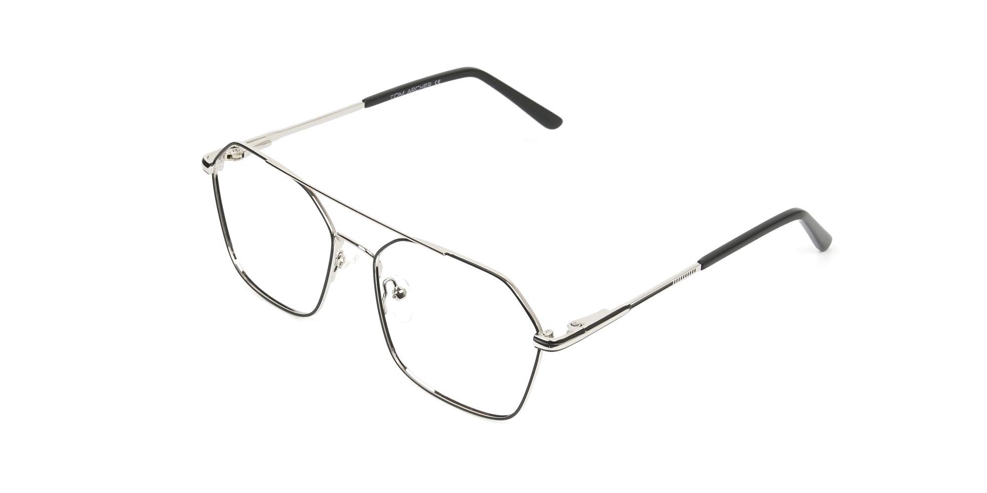 Geometric Aviator Black & Silver Spectacles - 3
